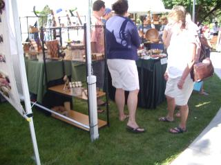 Patrons viewing one of the many displays at the show